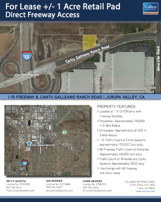 1 Acre Retail Pad, Cantu Galleano Ranch Road, Jurupa Valley